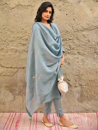 Blue Embroidered Silk Cotton Dupatta with Bead Work