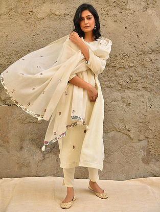 Off White Embroidered Silk Cotton Dupatta with Bead Work