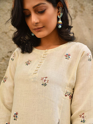 BAAMCHAL - Off White Embroidered Linen Kurta with Bead Work
