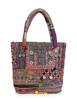 Multicolored Vintage Rabari Embroidered Cotton Tote Bag