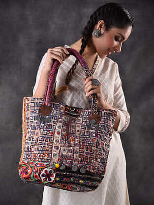 Multicolored Vintage Rabari Embroidered Cotton Tote Bag