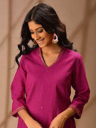 Kashika - Pink Hand Embroidered Cotton Slub Kurta