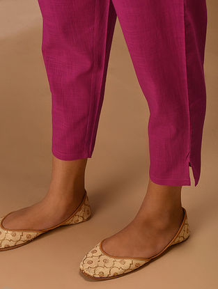 Pink Elasticated Waist Cotton Slub Pants