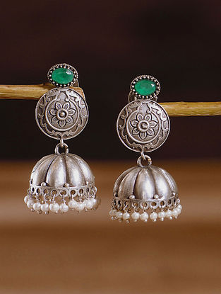 Green Silver Tone Tribal Jhumki Earrings With Pearls