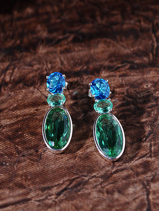 Blue Green Silver Earrings