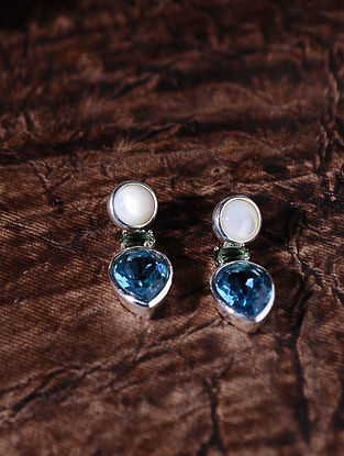 Blue Green Silver Earrings  with Pearls