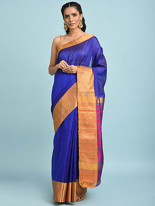 Blue Handwoven Silk Cotton Saree