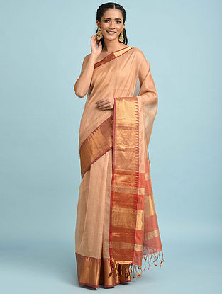 Beige Handwoven Silk Cotton Saree