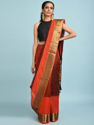 Coral Handwoven Silk Cotton Saree