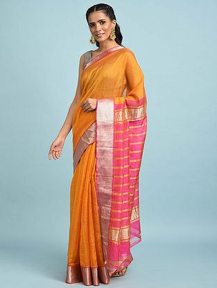 Mustard-Pink Handwoven Silk Cotton Saree