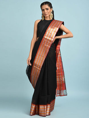 Black Handwoven Silk Cotton Saree