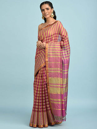 Purple-Olive Handwoven Silk Cotton Saree