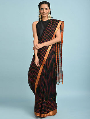 Black-Orange Handwoven Silk Cotton Saree