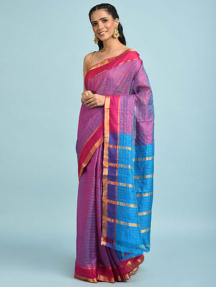 Purple-Blue Handwoven Silk Cotton Saree