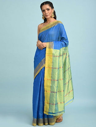Blue-Green Handwoven Silk Cotton Saree