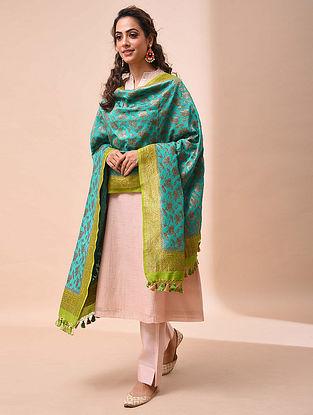 Blue-Green Benarasi Muga Silk Dupatta