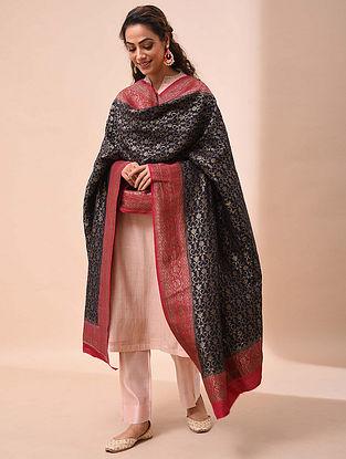 Black-Red Benarasi Muga Silk Dupatta