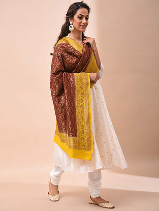 Maroon-Yellow Benarasi Muga Silk Dupatta