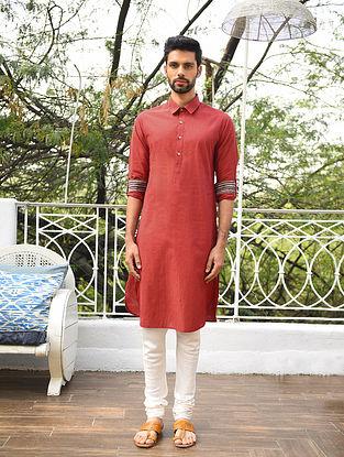 Maroon Mangalgiri Cotton Shirt Collar Long Kurta