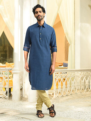 Blue Mangalgiri Cotton Shirt Collar Long Kurta