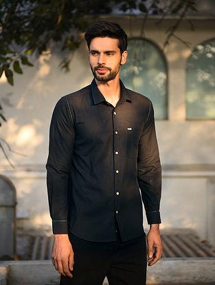 Black Mangalgiri Full Sleeve Cotton Shirt with Top Stitch