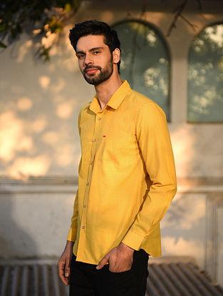 Mustard Mangalgiri Full Sleeve Cotton Shirt with Top Stitch