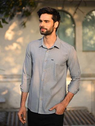 Grey Mangalgiri Full Sleeve Cotton Shirt with Top Stitch