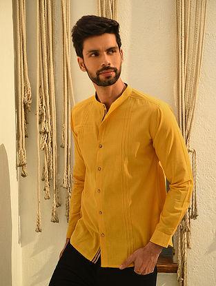 Mustard Mangalgiri Full Sleeve Pintuck Cotton Shirt