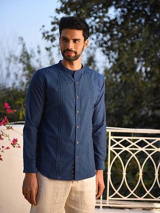 Navy Blue Mangalgiri Full Sleeve Pintuck Cotton Shirt