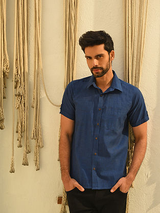 Navy Blue Mangalgiri Half Sleeve Cotton Shirt