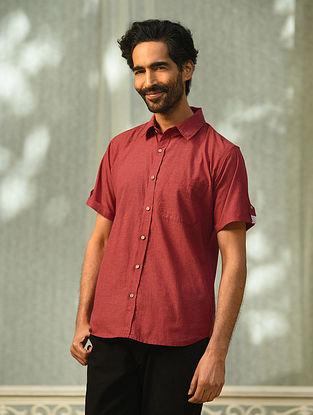 Maroon Mangalgiri Half Sleeve Cotton Shirt