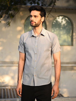 Grey Mangalgiri Half Sleeve Cotton Shirt