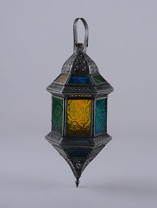 Antique Silver and Yellow Handcrafted Lantern