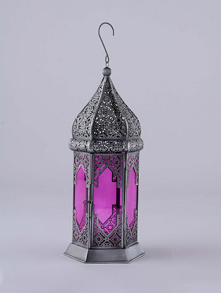 Antique Silver and Pink Hanging Handcrafted Lantern