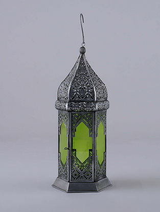 Antique Silver and Green Hanging Handcrafted Lantern