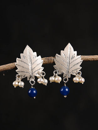Blue Chinaar Patta Silver Earrings with Pearls