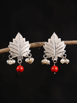 Red Chinaar Patta Silver Earrings with Pearls