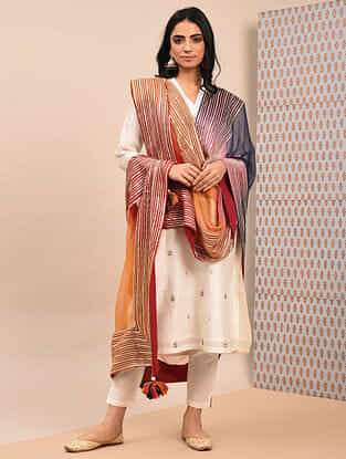 Multicolor Ombre Chiffon Dupatta With Gota And Tassels