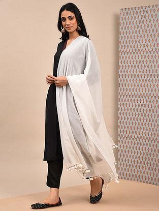 White Handloom Cotton Dupatta With Tassels