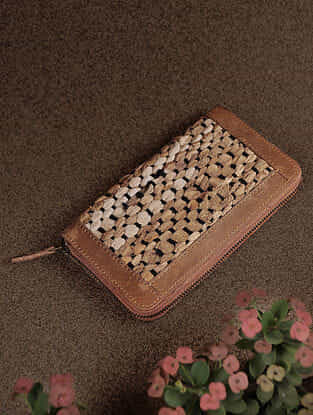 Tan Handcrafted Upcycled Genuine Leather Wallet