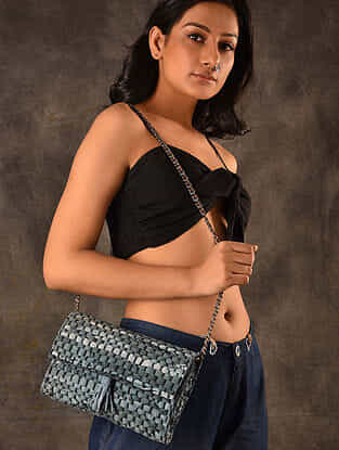 Dark Grey Handcrafted Upcycled Genuine Leather Sling Bag