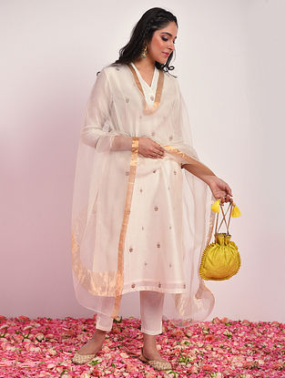 Off White Silk Cotton Dupatta With Zari
