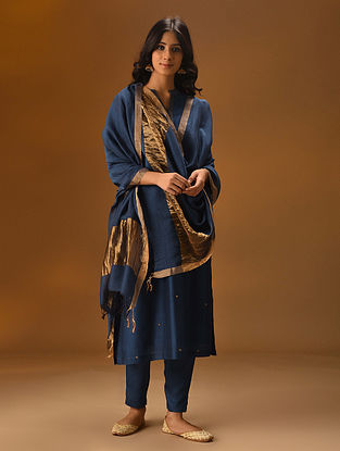 Blue Silk Cotton Dupatta with Zari Border