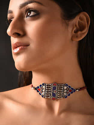 Red Blue Glass Tribal Silver Necklace