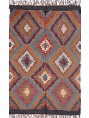 Multicolor Wool and Jute Panja Dhurrie (L- 6ft x W- 3.11ft)