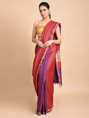 Red-Purple Handwoven Silk Saree