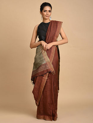 Brown Handwoven Ghicha Silk Saree