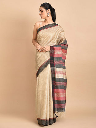 Beige-Red Handwoven Silk Saree