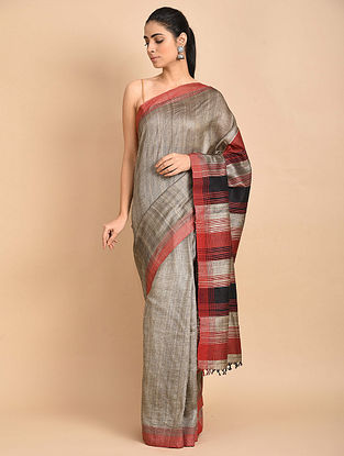 Grey-Red Handwoven Silk Saree
