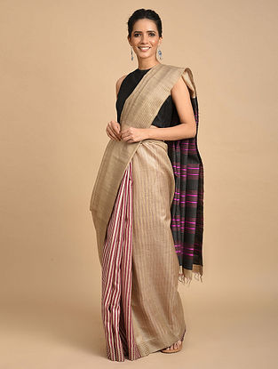 Beige-Purple Handwoven Silk Saree